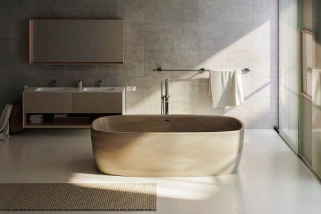 Aquatica coletta concrete freestanding solid surface bathtub 01