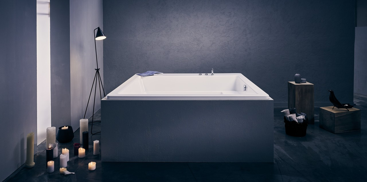 Lacus wht par aquatica baignoire encastr e en acrylique for Baignoire encastree
