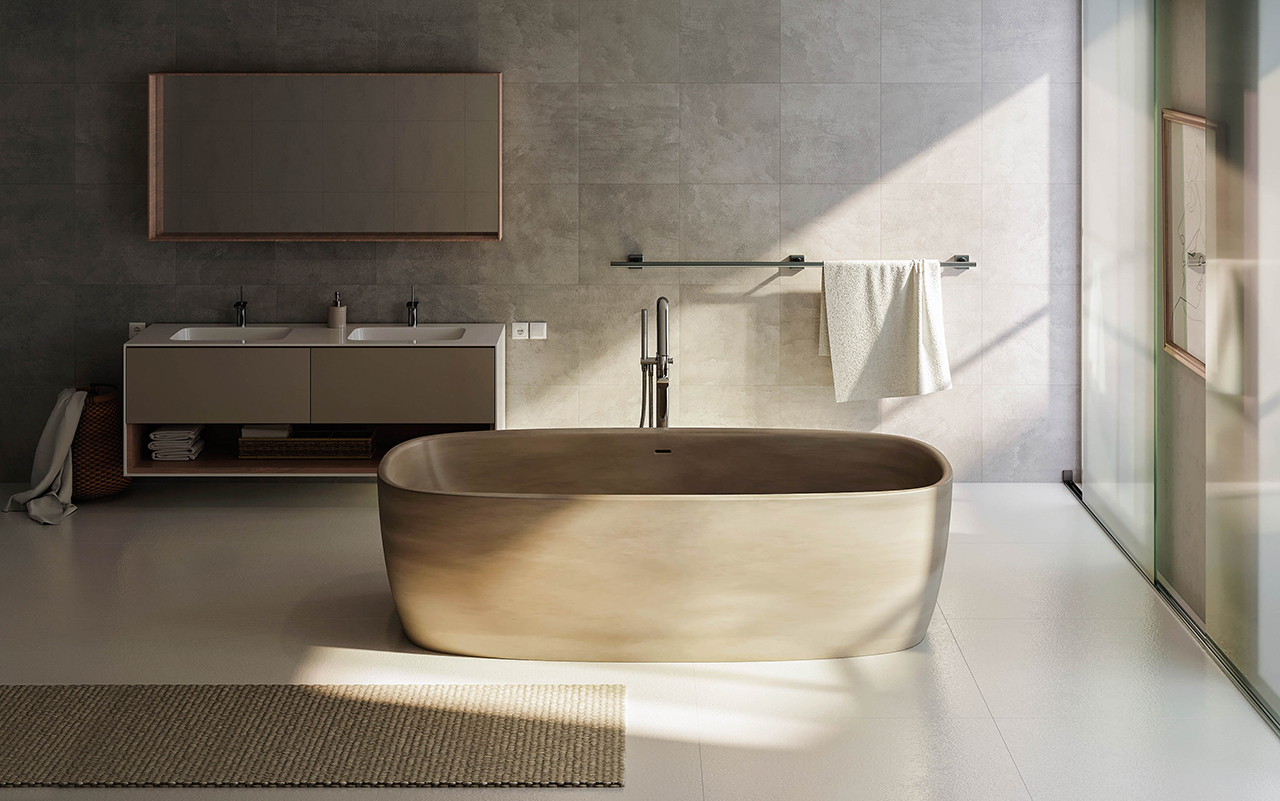 Coletta sandstn par aquatica baignoire autoportante en for Prix baignoire en pierre