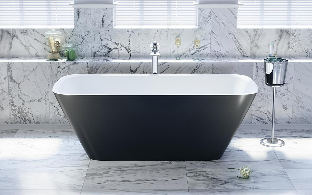 arabella en noir et blanc par aquatica baignoire autoportante en pierre. Black Bedroom Furniture Sets. Home Design Ideas