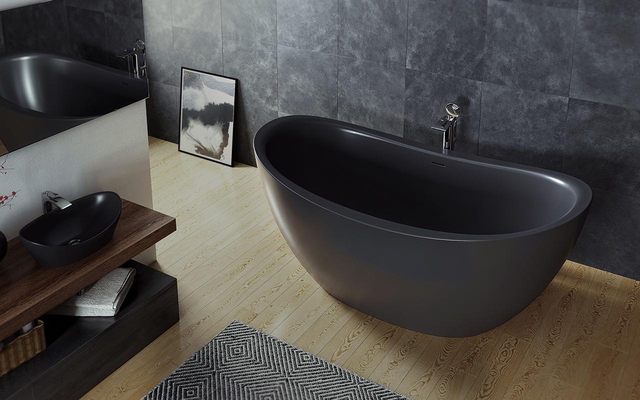 Purescape 171m blck par aquatica baignoire autoportante for Prix baignoire en pierre