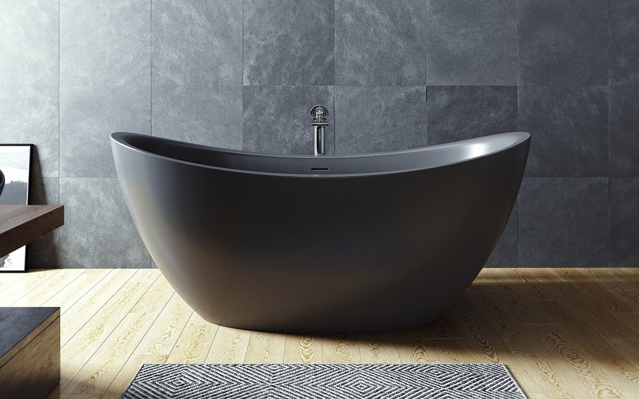 purescape 171m blck par aquatica baignoire autoportante en pierre en noir. Black Bedroom Furniture Sets. Home Design Ideas