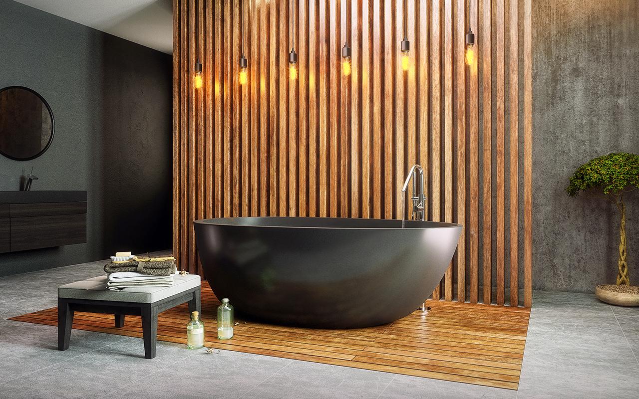 baignoire en graphite noir surface solide en forme d uf. Black Bedroom Furniture Sets. Home Design Ideas