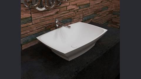 Vier de salle de bain elise en pierre blanche par aquatica for Evier de salle de bain en pierre